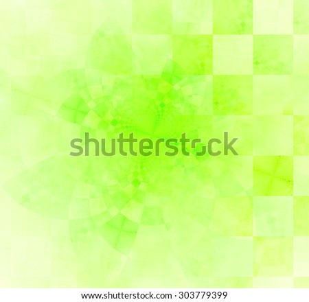 Abstract geometric background with columns and rows of squares and a star-like distorted pattern mixed in to, all in light pastel green - stock photo