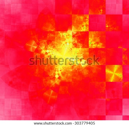 Abstract geometric background with columns and rows of squares and a star-like distorted pattern mixed in to, all in bright vivid red,yellow,pink - stock photo