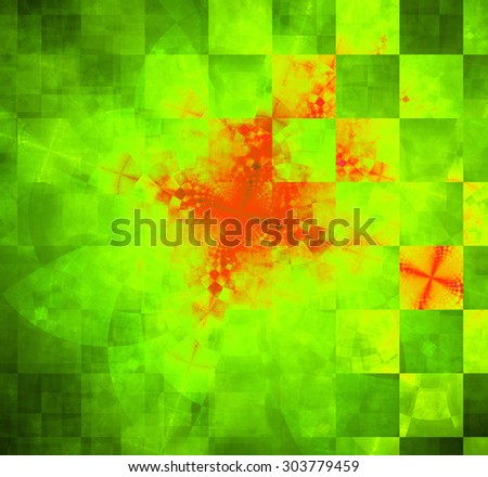 Abstract geometric background with columns and rows of squares and a star-like distorted pattern mixed in to, all in dark vivid glowing green,yellow,red - stock photo