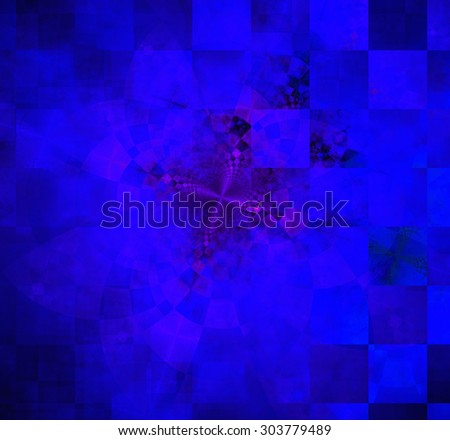 Abstract geometric background with columns and rows of squares and a star-like distorted pattern mixed in to, all in dark vivid glowing purple and pink - stock photo