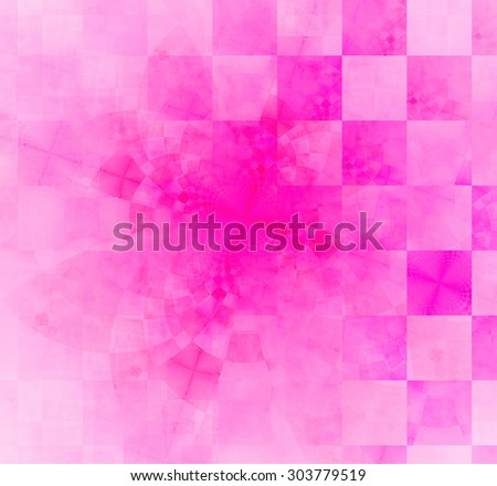 Abstract geometric background with columns and rows of squares and a star-like distorted pattern mixed in to, all in light pastel pink - stock photo
