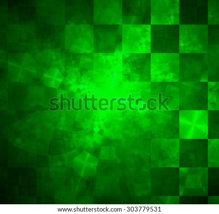 Abstract geometric background with columns and rows of squares and a star-like distorted pattern mixed in to, all in shining green - stock photo