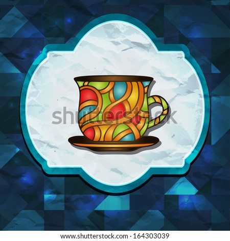 Abstract geometric background with frame and cup -  raster version - stock photo