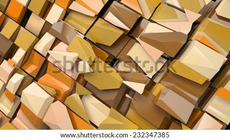 abstract geometric background with glossy blocks irregular shape - stock photo