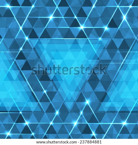 Abstract geometric background with glowing triangles. Blue circuit board background. - stock photo