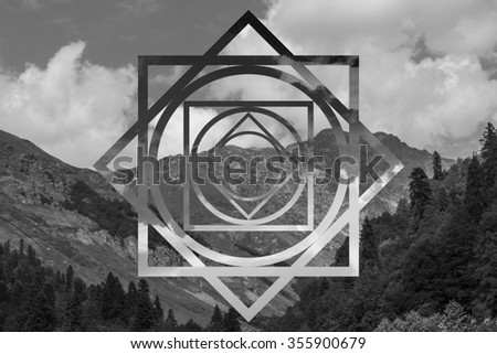 abstract geometric background with polygons, mountains and cumulus clouds, polygonal cloudscape backdrop, op art, altitude. reality is an illusion - stock photo