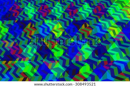 Abstract geometric blue green low poly background in op art style