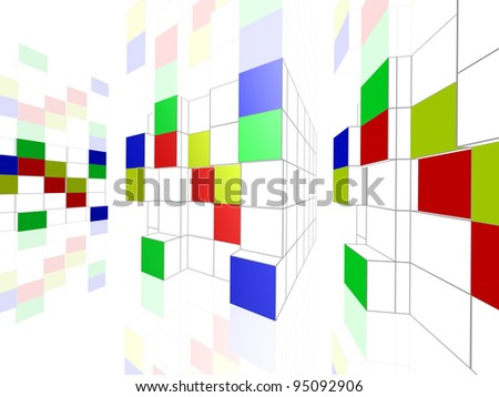Abstract geometric colorful construction