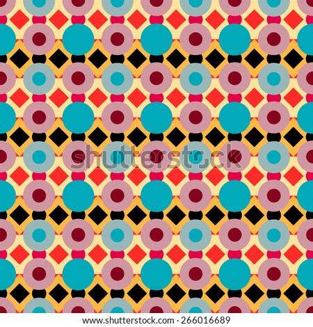 Abstract geometric colorful seamless pattern with circles and rhombus. Repeating background texture  - stock photo