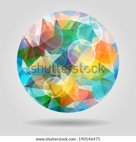 Abstract geometric colourful spherical shape with bubbles for graphic design