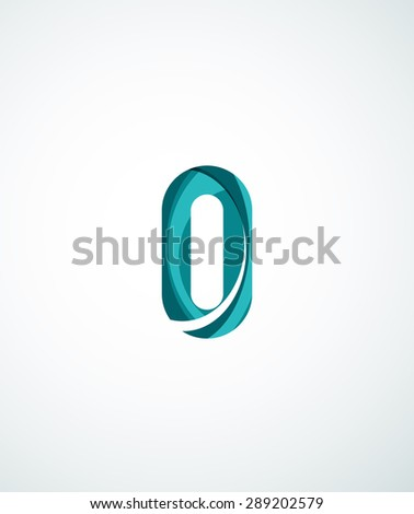 Abstract geometric company logo illustration of universal shape concept made of various wave overlapping elements - stock photo