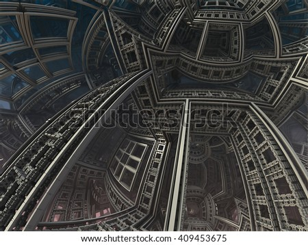 abstract geometric composition made in 3d software - stock photo