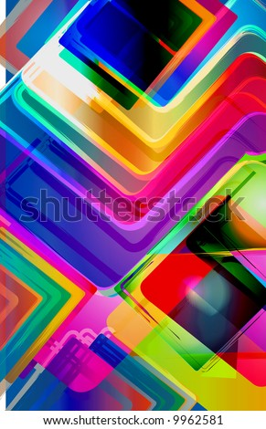 abstract geometric cube pattern with candy colored gel rainbow gradient texture - stock photo