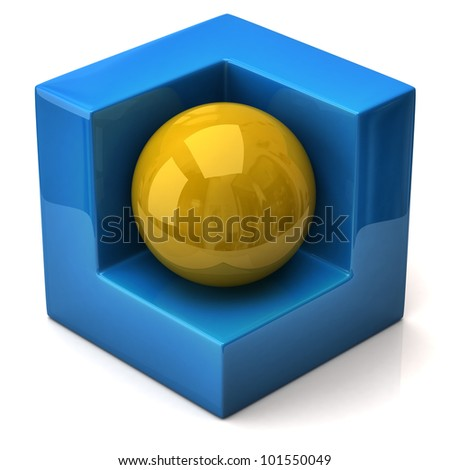 Abstract geometric figure, cube and sphere - stock photo