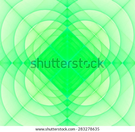 Abstract geometric fractal background with a square star in the center and decorative arches surrounding it, all in light pastel green - stock photo