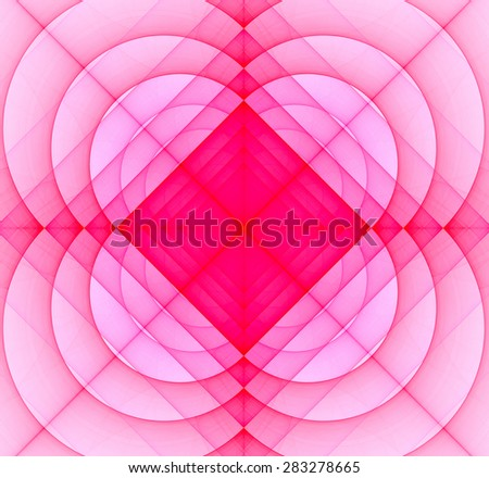 Abstract geometric fractal background with a square star in the center and decorative arches surrounding it, all in light pastel  - stock photo