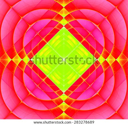 Abstract geometric fractal background with a square star in the center and decorative arches surrounding it, all in bright vivid pink,red,yellow,green - stock photo
