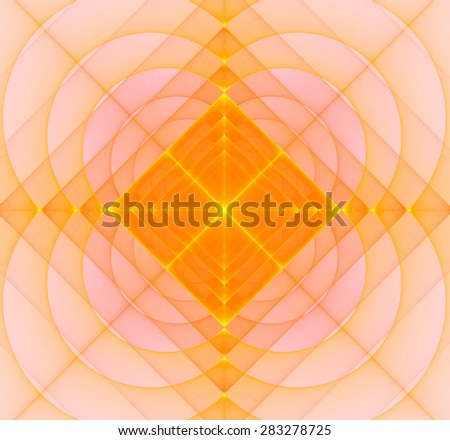 Abstract geometric fractal background with a square star in the center and decorative arches surrounding it, all in light pastel yellow and orange - stock photo
