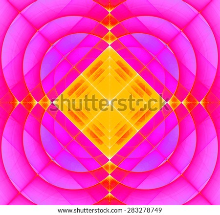 Abstract geometric fractal background with a square star in the center and decorative arches surrounding it, all in bright vivid pink and yellow - stock photo
