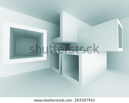 Abstract Geometric Interior Room Architecture Background. 3d Render Illustration - stock photo