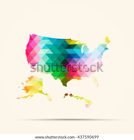 Abstract geometric map United States background consisting of triangles - stock photo