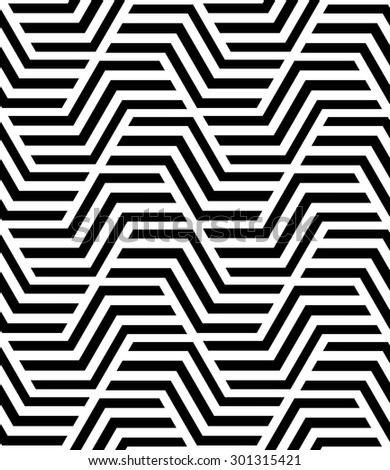 Abstract geometric pattern by stripes, lines. A seamless  background. Black and white texture