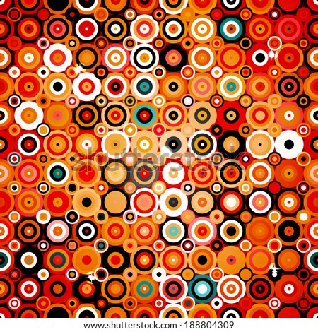 Abstract geometric pattern with dots and circles in disco style, background texture wallpaper in warm colors - stock photo