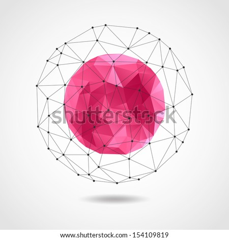 Abstract geometric pink spherical shape from triangular faces for graphic design. There is a vector version in my portfolio. - stock photo