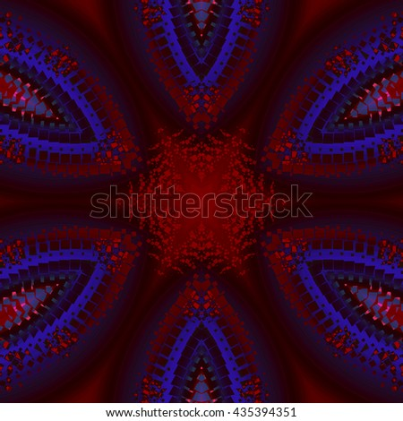 Abstract geometric seamless background. Symmetric star pattern with elements in deep red, dark blue, purple and black, centered and blurred. - stock photo