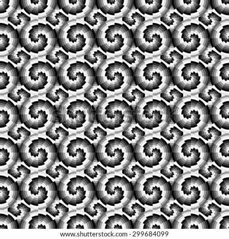Abstract geometric seamless pattern. Monochrome modern stylish pattern with circles and swirls.