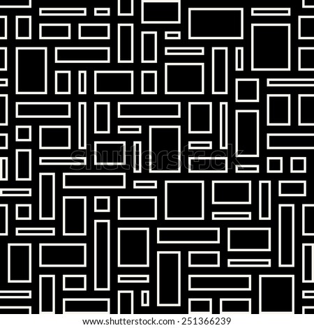 Abstract geometric seamless pattern. White empty rectangles over black background. - stock photo