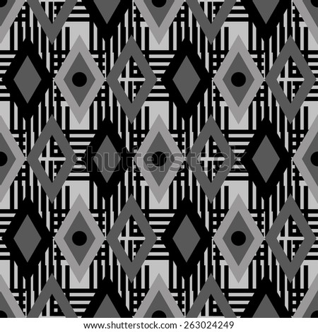 Abstract geometric seamless pattern with diamonds, lines and circles. Modern monochrome background texture  - stock photo