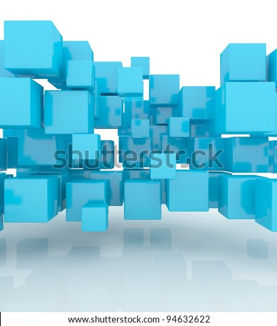 Abstract geometric shape from blue cubes - stock photo