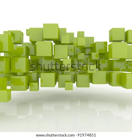 Abstract geometric shape from green cubes - stock photo