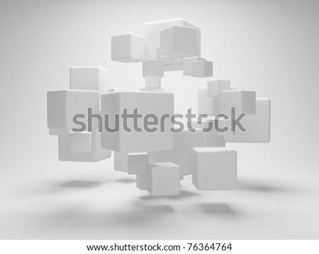 Abstract geometric shapes from cubes - stock photo