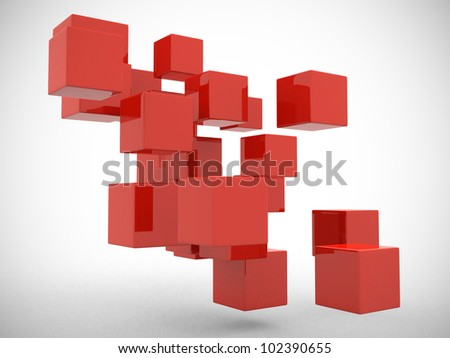 Abstract geometric shapes from cubes -- 3d render