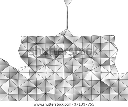Abstract geometric structure of grey gradient triangular shapes - stock photo