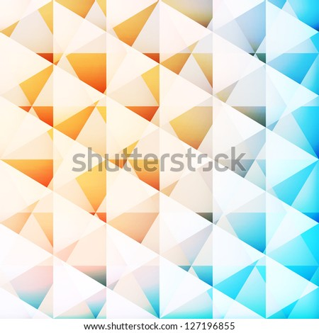 Abstract geometric triangles background, raster illustration - stock photo
