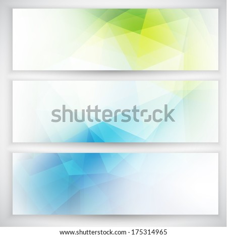 Abstract geometric triangular banners set - raster version - stock photo