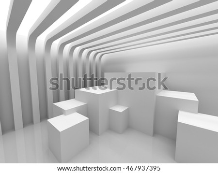 Abstract Geometric White Modern Background. 3d Render Illustration