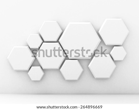 Abstract Geometric White Wall Background. 3d Render Illustration - stock photo