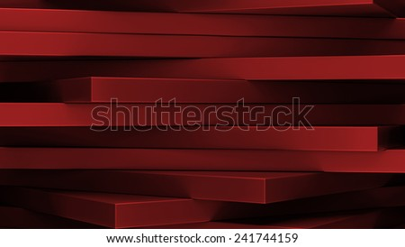abstract geometrical background made of horizontal rotating 3d rectangles - stock photo