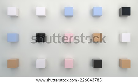 abstract geometrical background with white field and few small cubes - stock photo