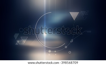 Abstract geometrical flat white form with lens flare on blue dark background