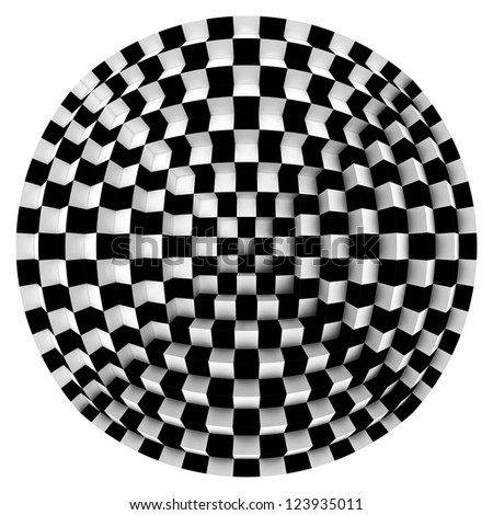 abstract geometrical image  in op art style - stock photo