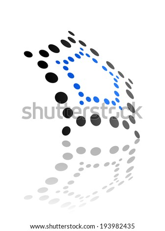 Abstract geometrical pattern of dots or circles with an oblique perspective and reflection in blue and black. Vector version also available in gallery - stock photo