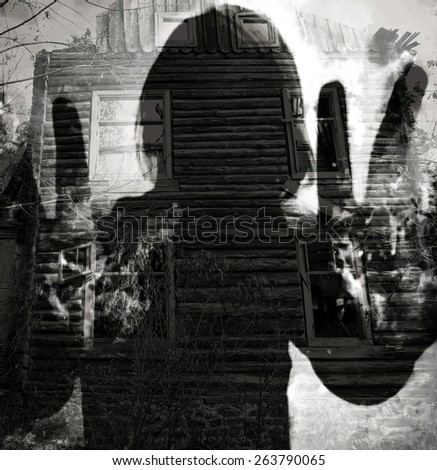 abstract ghost silhouette, double exposure horror background  - stock photo