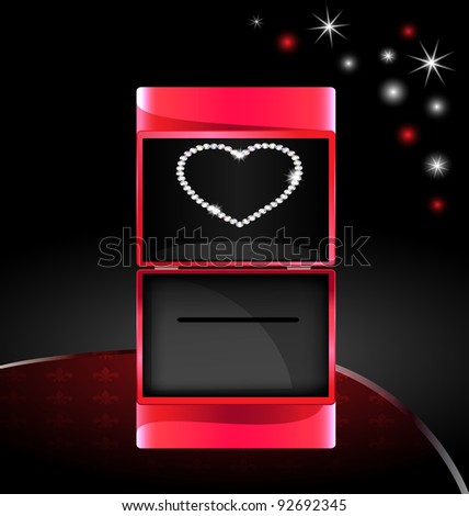 abstract gift box with jewelry heart - stock photo