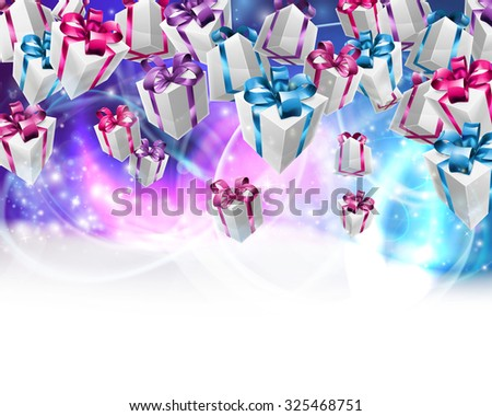 Abstract gifts or presents Christmas or birthday header purple blue background. Fades to white at the bottom for easy use as border design or header. - stock photo