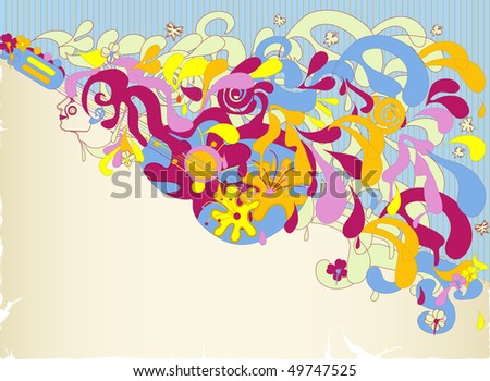 Abstract girl and guitar with colorful splashes
